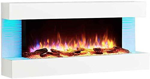 RICHEN - Chimenea eléctrica, modelo Helia, chimenea eléctrica de pared con calefacción, iluminación LED, efecto de llamas en 3D y mando a distancia, color blanco