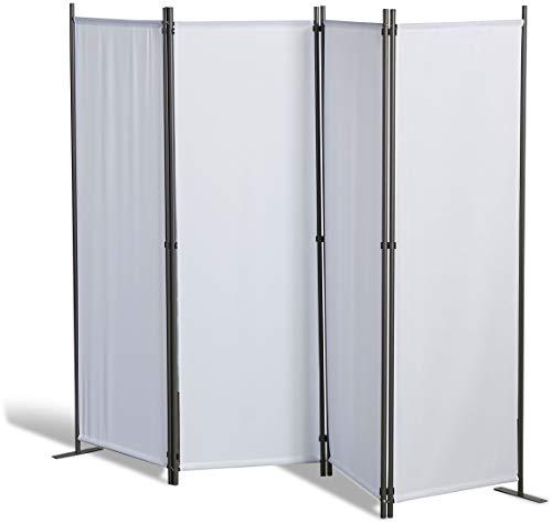 Grasekamp Qualität seit 1972 - Paravento 4 parti, Poliestere, Bianco, 215 x 170 cm
