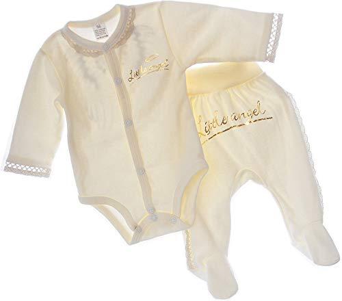 A&O Baby Set Hose & Body Angel Slupfhose mit Füßchen Babybody Kombination 56 62 (56)
