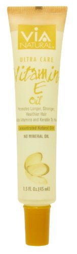 VIA Natural Ultra Care Vitamin E Oil Concentrated Natural Oil 1.5oz - Promotes Longer, Stronger, Healthier Hair, Adds Vita...