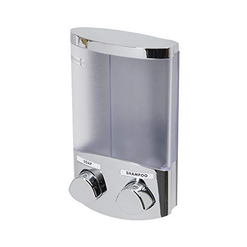 COMPACTOR Doppelter Seifenspender für an die Wand, 360 ml Fassungsvermögen pro Reservoir, Kunststoff mit verchromtem Stahl-Finish RAN6016