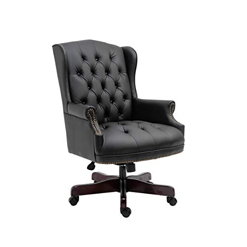 Halter Leather Executive Office Chair with Padded Wooden Armrest, Black