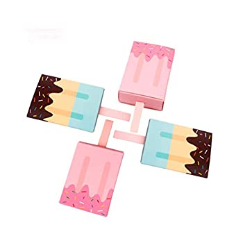 QXcom 12 Pcs Cute Cartoon Gift Boxes Ice Cream Shaped Candy Box Wedding Party Favor Cardboard Box Goody Bags Baby Shower Birthday Candy Sweet Box Decoration Candy Box for Kids Children,2-Colors