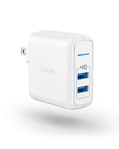 Cargador de pared de viaje de dos puertos 24W USB Anker Elite 2 puertos de conexión con PowerIQ y enchufe plegable para iPhone 7/7 Plus/6s/6s Plus, iPad Pro/Air 2/mini 3/mini 4, Samsung Note 4, y más, Blanco