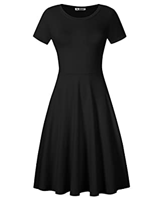 VeryAnn Women's Solid Fit and Flare Dress A Line Swing Dress