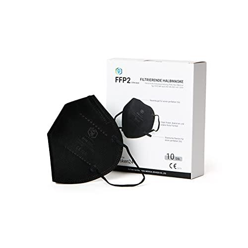 MASKEN24 FFP2 Maske SCHWARZ - 10 Stück einzelverpackt