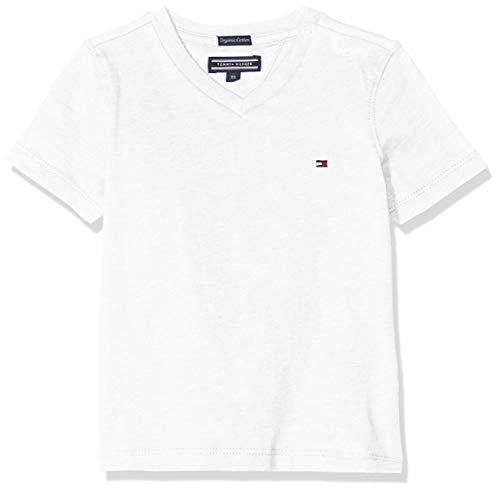 Tommy Hilfiger Jungen Boys Basic Vn Knit S/S Regular Fit T-Shirt, Weiß (Bright White 123), 152 ( Herstellergröße: 12)
