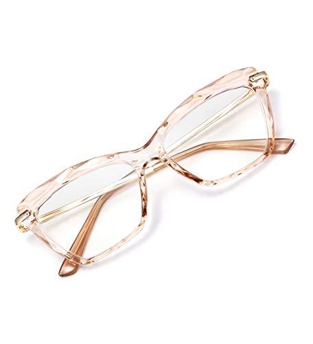 FEISEDY Crystal Cat Eye Reading Glasses Blue Light Blocking Anti Glare Digital Eyestrain Reader B2596 Champagne 2.50x