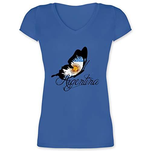 Länder - Argentina Schmetterling - M - Blau - XO1525 - Damen T-Shirt mit V-Ausschnitt