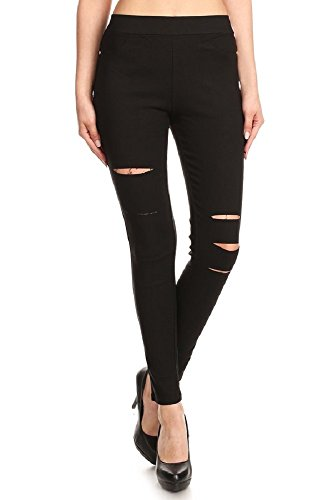 Jvini Women's Pull-On Ripped Distressed Stretch Legging Pants Denim Jean (XXX-Large, Black)
