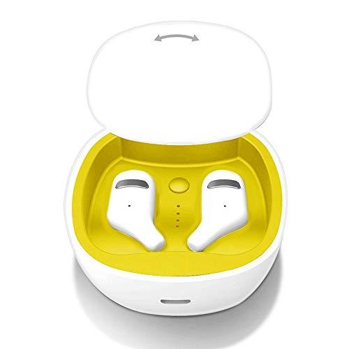 QCHEA Bluetooth 5.0 Auriculares TWS Auriculares inalámbricos Mini Auriculares estéreo 3D HiFi Sound Sport IPX5 HD Mic Manos Libres for Todos los teléfonos (Color : White)