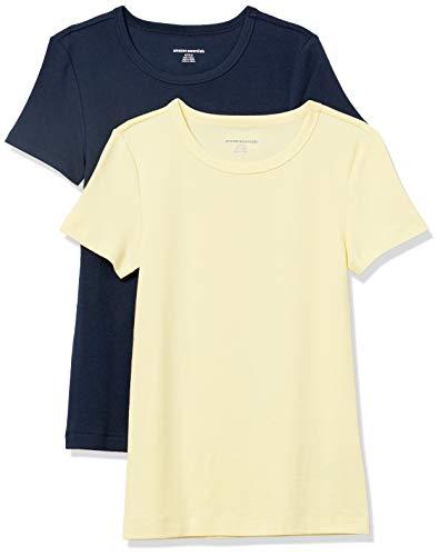 Amazon Essentials 2-Pack Slim-Fit Short-Sleeve Crewneck T-Shirt Camiseta, Amarillo/Azul Marino, M
