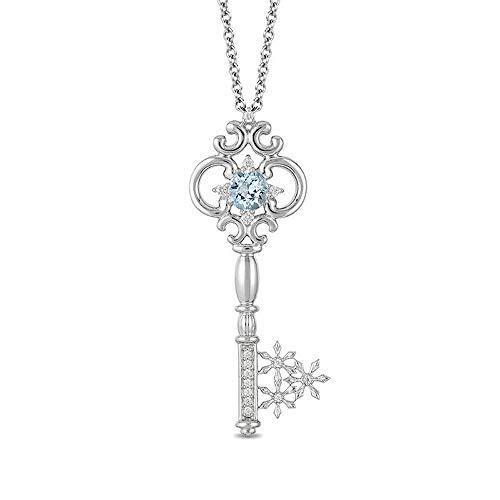 Colgante de llave de diamante de 5,0 mm y aguamarina de 1/10 quilates T.W. D/VVS1 para mujer en cadena de plata de ley 925 de 45,72 cm