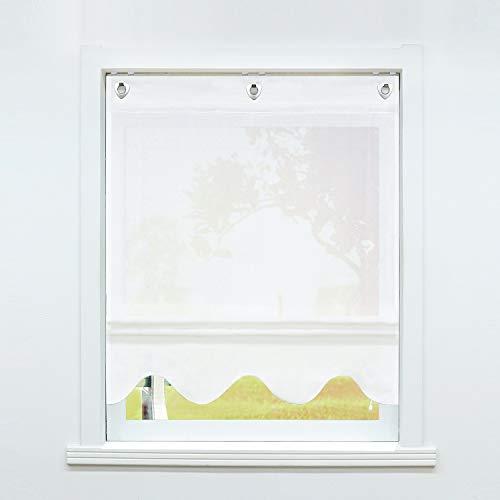 SCHOAL Raffrollo ohne Bohren Raffgardinen mit Ösen Gardinen Transparent Ösenrollo Vorhänge Leinen 1 Stück BxH 80x140 cm Weiß