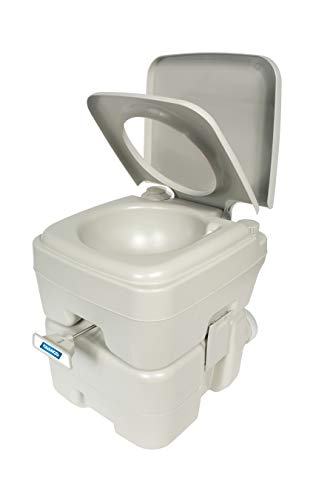 Camco 41541 Portable Travel Toilet-Designed for Camping, RV, Boating and Other Recreational Activities - 5.3 Gallon , White