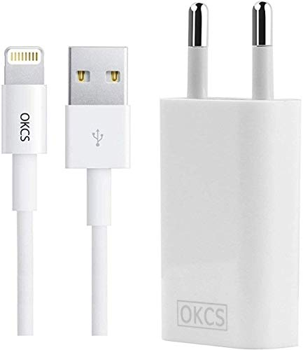 OKCS Originals Ladeset - 1 Meter 8 Pin USB Ladekabel + 1A Slim Netzteil kompatibel für iPhone 11, 11 Pro, 11 Max, XR, XS, XS Max, X, 8, 8 Plus, 7, 7 Plus, 6, 6s 6 Plus, 5, 5s, iPad 4, Pro, Mini, 2