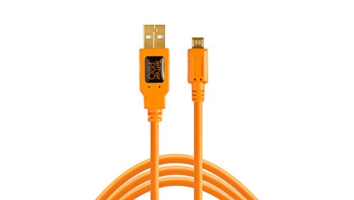 Tether Tools TetherPro USB 2.0 to Micro-B 5-Pin Cable, 15' (4.6m), High-Visibility Orange