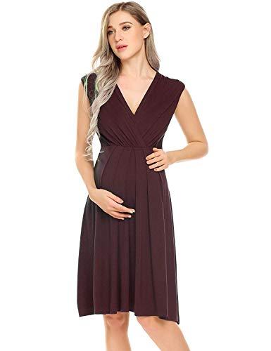 Dames borstvoedingsnachthemd omstandingsnachthemd mouwloos mouwloos modieuze mouwloze mouwloze jurk nachthemd V modieuze compleetuitsnijding wikkeljurk zwart wijnrood