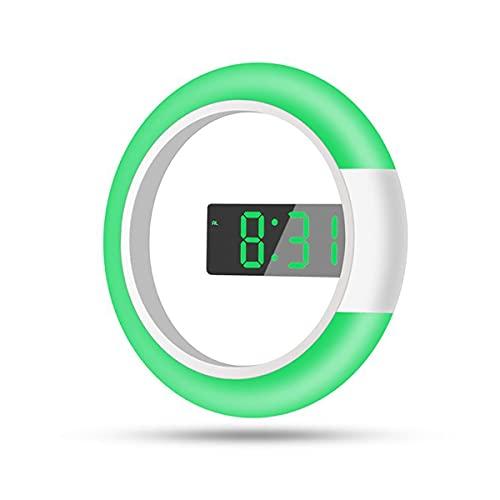 Reloj de pared, relojes de alarma digital, control remoto 7 colores anillo iluminado, pantalla de temperatura de pantalla de espejo LED, decoración de dormitorio de cocina vivo