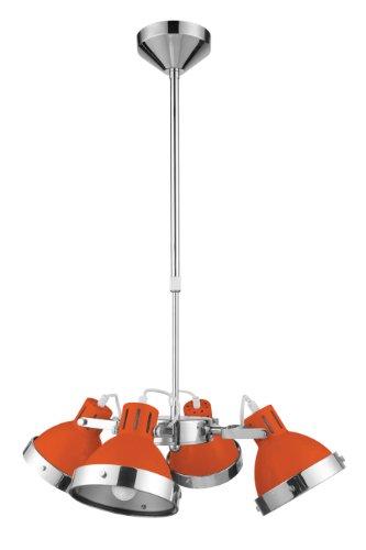 Premier Housewares 2501665 Lumière Pendante + 4 Abat-Jour Orange/Chromé 90 x 50 x 50 cm