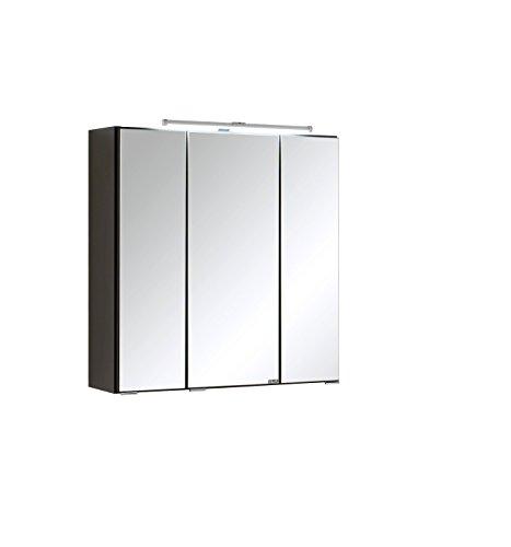 Held Möbel Portofino 3D Spiegelschrank 60, Holzwerkstoff, Graphitgrau, 20 x 60 x 64 cm