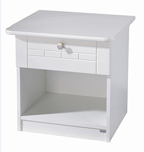roba Nachttisch Dreamworld 3, Beistelltisch mit 1 Schublade und 1 offenem Fach, Nachtkommode in stilvollem weiß für Kinderzimmer und Jugendzimmer