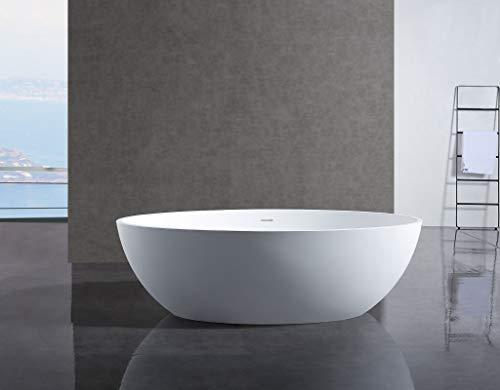 Bernstein Badshop Freistehende Badewanne aus Mineralguss RELAX Ovale Standbadewanne weiß - 176x103cm