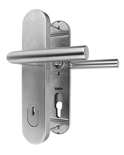Edelstahl Schutzbeschlag für Haustüren ES 1 Drücker/Drücker mit Zylinderabdeckung