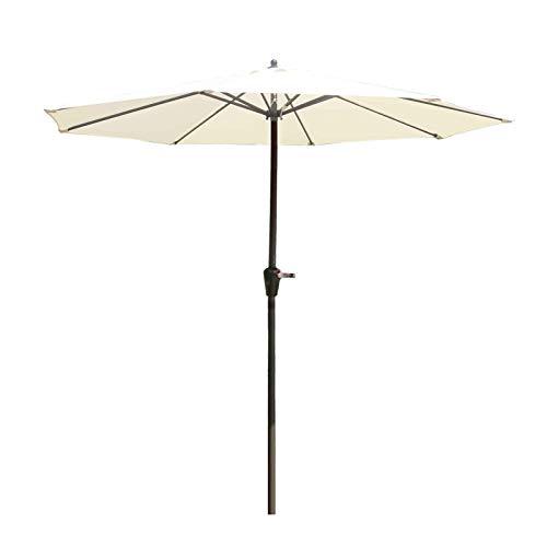 ZJM Sombrillas para Patio Paraguas de Mesa de Mercado Beige 9' para Terraza de Patio, con Marquesina de Poliéster Impermeable, Gran Patio Trasero Cubierta de Sombra de Plantas de Jardín