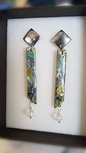 Pendientes recto verdes hechos a mano con arcilla polimerica imitación piedra, pieza unica Regalo
