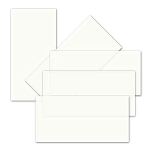 50x ungefalztes einfaches Einlege-Papier für DIN Lang Karten - transparent-weiß - 10,3 x 20,8 cm - ideal zum Bedrucken mit Tinte und Laser - hochwertig Mattes Papier von Gustav NEUSER
