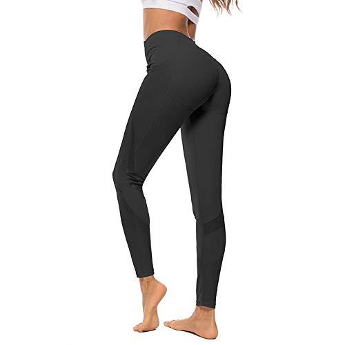 Femmes Leggings Couleur Unie Taille Haute Maille Leggings Surpiqûres À Séchage Rapide Respirant Fitness Pantalon S Noir