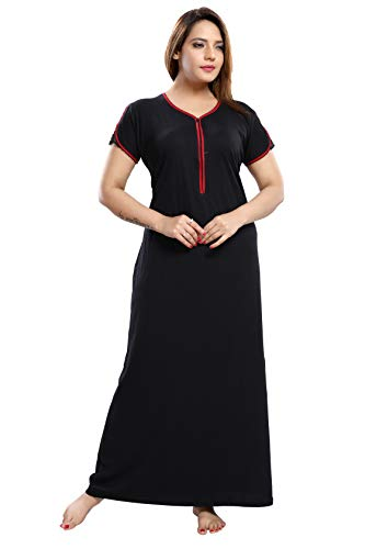 TRUNDZ Women's Cotton Solid Maxi Night Gown (NTY2110_Black)