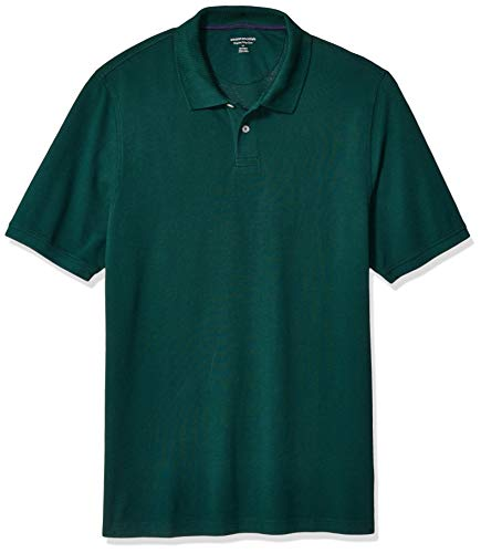 Amazon Essentials Men's Regular-Fit Cotton Pique Polo Shirt Shirt, -Evergreen, Large