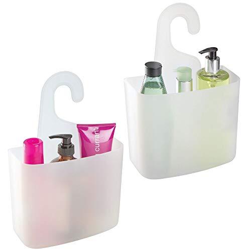 mDesign 2er-Set Duschablage – großer Duschkorb mit Ablauföffnungen für Shampoo, Duschgel oder Rasierer – Badewannenablage für Spielzeug, Badesalz und mehr – mattweiß