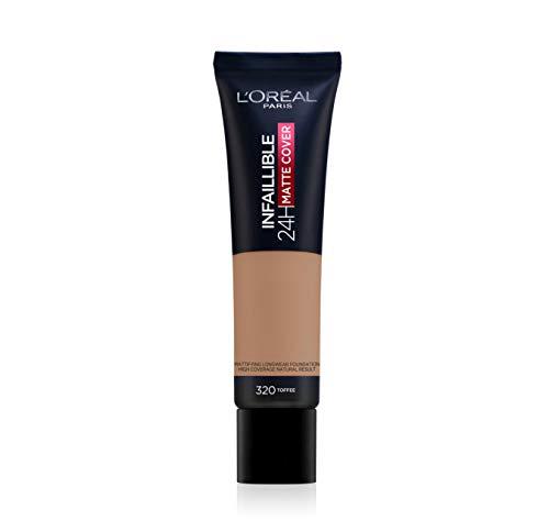 L'Oréal Paris Infaillible 24H Matte Cover 320 Caramel/Toffee, langanhaltendes Flüssig-Make-up, hohe Deckkraft, wasser- und wischfest