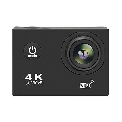 knowledgi Cámara deportiva 4K Ultra HD, impermeable, WiFi, amplio ángulo de visión de 170 grados, pantalla LCD de 2 pulgadas, batería de iones de litio recargable de 900 mAh