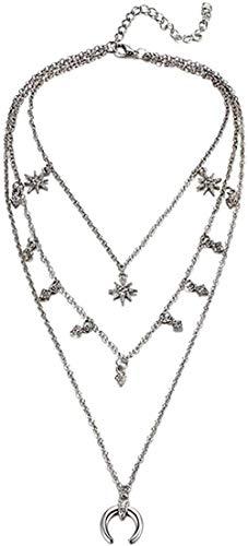 Collar Bohemio, Collares con Colgante Largo para Mujer, Cuentas de Color Dorado Vintage, Gargantilla de Luna, Collar de múltiples Capas, joyería