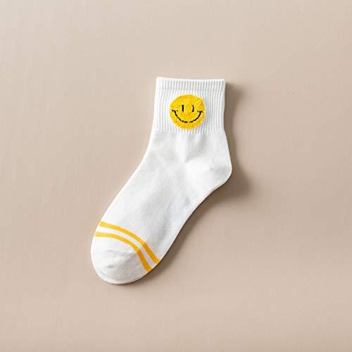 SIHIELOA 3 Paar Socken Basic Smileysocken für den Herbst und den Winter Socken aus Baumwolle für die College-Wind-Sportlerinnen Die süßen Wilden Damensocken sind Code-weiße Smileys