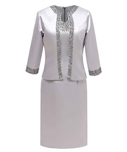 Pretygril Frauen 2 Stücke Elegantes Satin Kleid für die Brautmutter mit Jacke (US 16 Plus, Silber)