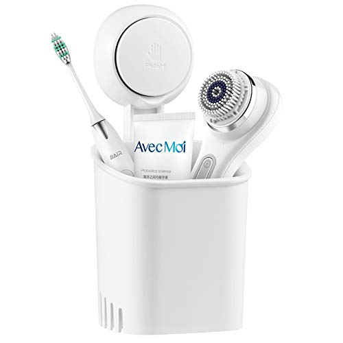 LUXEAR Bathroom Waterproof Suction Cup Toothbrush Holder Drill-Free Removable Wall Mounted Toothpaste Razor Suction Holder - Multifunction Shower Storage Organizer for Small Toiletry Items, White