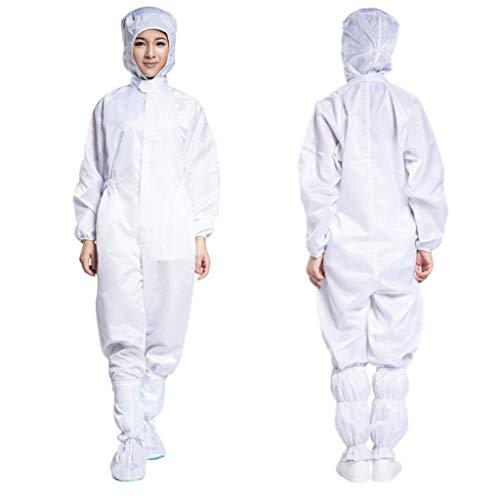 Anti-Statik Staubfreie Kleidung, Spezialkleidung, Mit Kapuze Overalls, Staubfrei, Elektrostatische Staubdichte Einweg-Schutzkleidung Schutzkleidung (Color : White, Size : XXL)