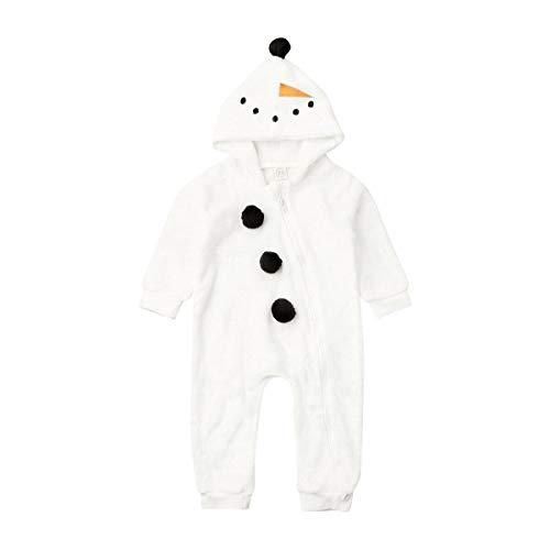 Carolilly Monopezzo Pigiama da Bambino Neonato Costume Natale per Bambina Pupazzo di Neve Tuta Carino Pagliaccetto con Cappuccio Inverno Vestiti Caldi 0-3 Anni (Bianco, 6-12 Mesi)
