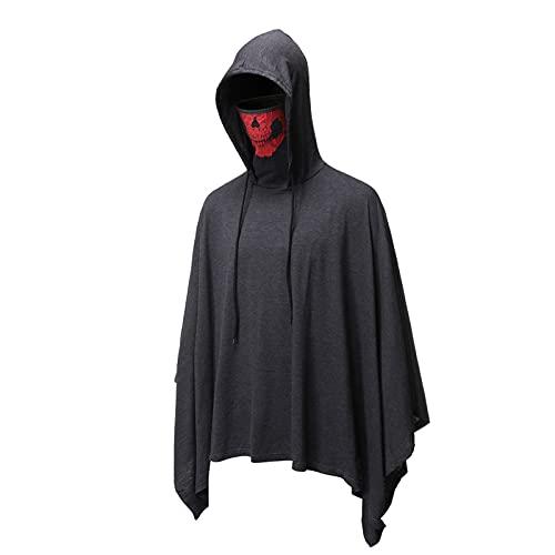 Bsemax 2021 - Giacca da uomo con cappuccio e maschera, per Halloween, grigio., XXL