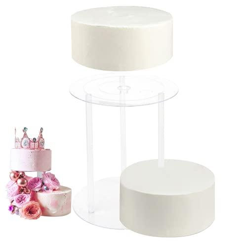 Tableros de Pastel 3 tamaños Dislocación Base de Pastel con 9 Varillas Reutilizables de Soporte para Tartas para Fiestas de Cumpleaños Bodas Cenas de Celebración(4, 6, 8 Inch)