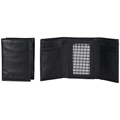 Ben Sherman Men's Slimfold Full-Grain Anti-Theft RFID Security ID Window, Vegetable Tanned Black Leather, Bi-Fold Wallet