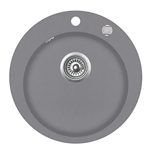 Granit Einbauspüle Küchenspüle Spülbecken Spüle rund silber Ø 50,5 cm