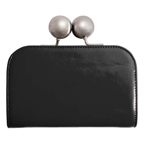 [ラフィカロ]大玉がま口財布レディース大容量牛革大きいお札入れ小銭入れカードポケット革レザーウォレットブラック