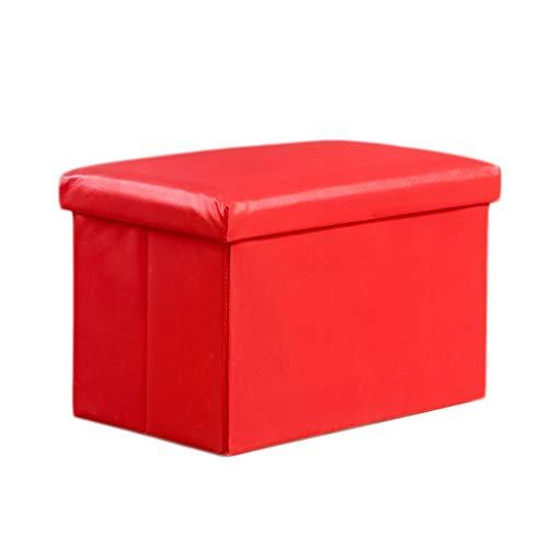 Ottoman Wddwarmhome Tabouret de Rangement pour boîte de Rangement avec Repose-Pieds Pliable en PVC - 48 * 30 * 30 cm - Capacité de Charge maximale 150 kg (Couleur : Red)