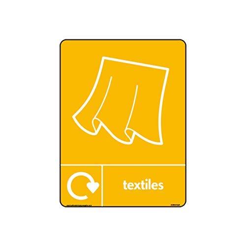 WRAP Recycle Textiles met Gordijnen Icoon met Logo Signs - WRAP Recycle Signs Stickers Zelfklevende Vinyl Waarschuwingsstickers voor Eigendom voor Werkplaats voor Kantoor, Thuis,200mm x 300mm